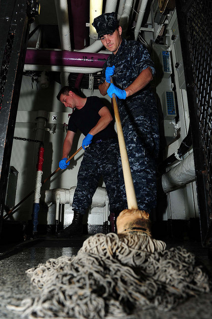 Photo Credit: USS THEODORE ROOSEVELT  Airmen Day and Mc Duffie  swab the deck (Creative Commons)