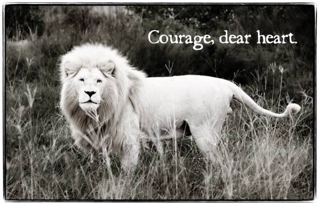 An encouraging word from our friend, Aslan. Because choosing to ENGAGE involves courage,oh yes. (Image Credit: Lancia E Smith. Photo links to her website)[