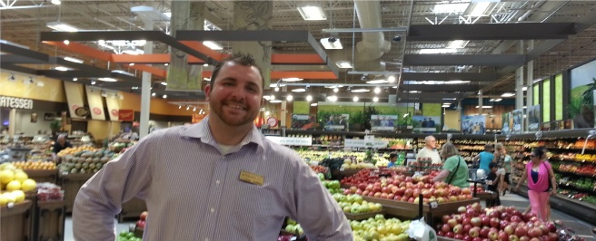 Michael working the produce department