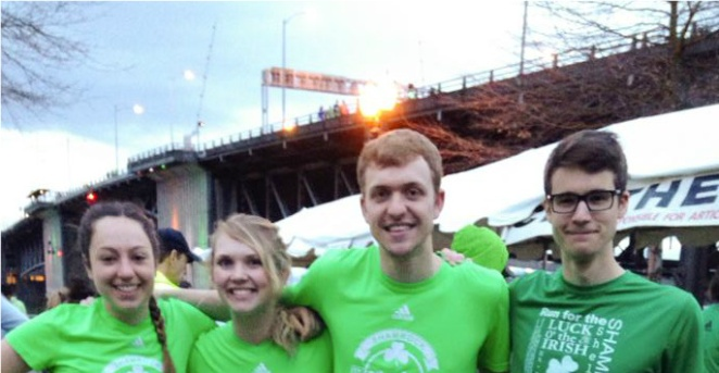 Ben and his wife Jessica with friends at the Shamrock Run (Photo: Jessica Lyons)
