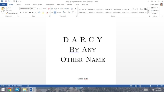 When I open the file, I sit and gaze at the title page. A book, my book.