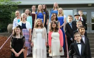 This year's 7th grade class at our formal dinner